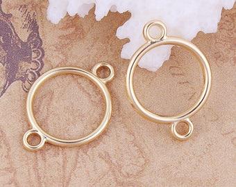 """10 """"Ring"""" color 2.1 cm Golden connectors / geometric"""