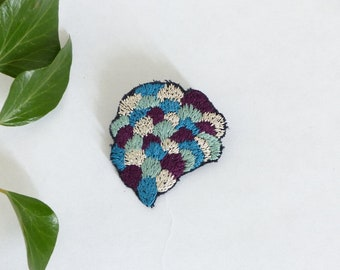 Foliage brooch / jewelry embroidered / motif hand embroidered leaves / blue purple green silver brooch / colorful brooch