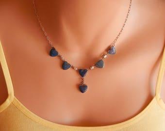 clover earrings Blue Lapis Lazuli Earrings lapis earrings Lapis lazuli jewelry blue lapis stud long Earrings lapis lazuli necklace lapis nec