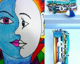 """Picasso"" multicolor leather Cuff Bracelet"