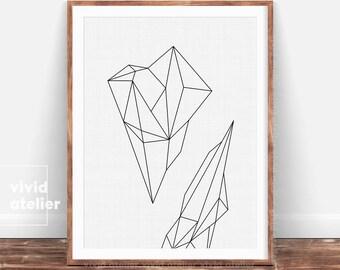 Geometric Print, Scandinavian Print, Affiche Scandinave, Minimalist Poster, Nordic Art Print, Black and White Print, Modern Art, Triangles