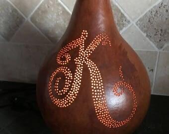 """Monogrammed """"K"""" gourd lamp"""