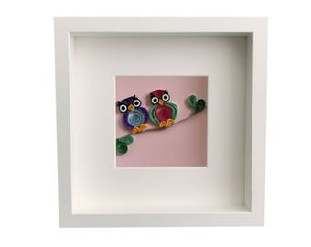 Personalized Baby Nursery Art & Decor, Personalized Framed Paper Quilled Hanging Owls