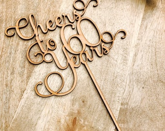 CLEARANCE! 1 ONLY Timber Cheers to 60 years Cake Topper 60th Birthday Cake Topper sixty Cake Decoration Cake Decorating Birthday Cakes Sixty