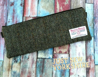 Harris Tweed zipped pouch, essentials bag, pencil case, makeup bag, long clutch, Ships from UK England