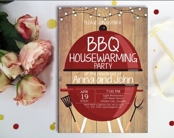 BBQ Housewarming Invitation, Rustic Wood, New house invite, Backyard Barbecue Housewarming Party, Chalkboard, Printable digital,