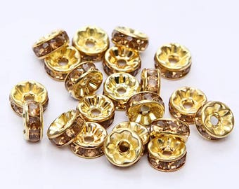 Set of 10 bead spacer Gold 8 MM Crystal rhinestones.
