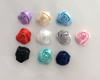 Lots of 10 applique satin flower has a sew or glue