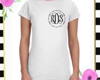 Womens Circle Arrow Monogram Tee , Left Chest Monogram Top , Personalized Summer T Shirt , Boho Arrow Gift , Vine Monogram , Bridesmaid Gift