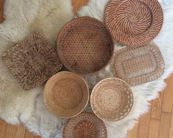 vintage, large, wicker basket collection, organic, earth tones, bohemian decor, boho wall art