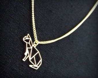Origami cat brass necklace