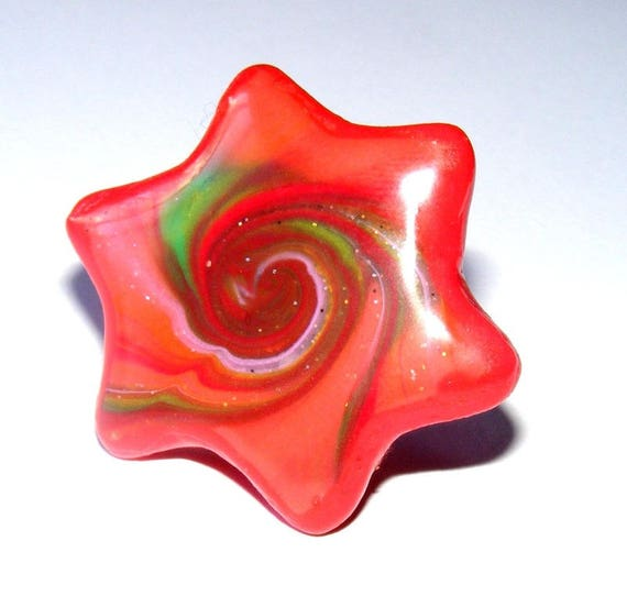 Ring star red and green polymer clay