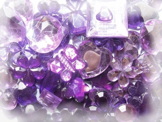 Cabochons acrylic stick 5 ~ 20mm Mixed Color Purple x 10