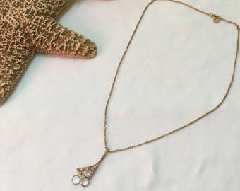 Avon 18 Inch Gold Toned Chain with Crystal Droplets Pendant - Avon Gold Chain with Dangling Crystal Droplets Necklace - Avon Gold Necklace