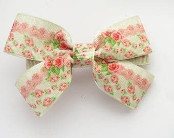 4 inch floral bow - 10cm bows - roses - floral hair bow - hair bows - hair accessories - bows with roses -  french barrette bows - bows