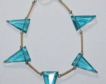 80% OFF SALE Amazing Sky Blue Quartz Triangle Facetade Briolette Beads 5 Pieces