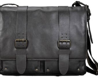 Shoulder bag with notebook compartment, leather, dark brown