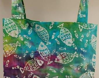 Rainbow large tote bag - rainbow batik