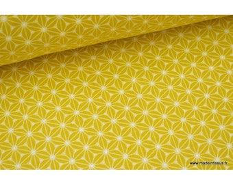 Tissu cretonne coton Jaune imprimé tendance japonaise x50cm