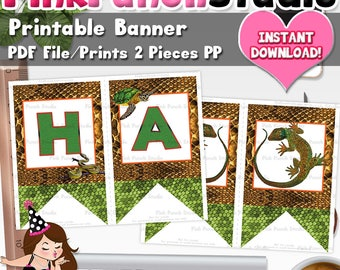 Printable Reptile Happy Birthday Party Banner Pdf Files INSTANT DOWNLOAD Frog Lizard Snake Turtle