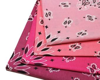 Fuchsia Bandana, Pink Bandanna, Hav-a-Hank Bandanna, 100 percent Cotton, 22 x 22 Bandana, Paisley Bandana, Pink Single Handkerchief