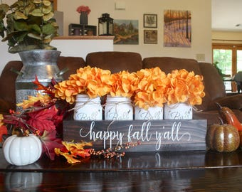 Fall Centerpiece. Fall Table Decor. Fall Mason Jars. Painted Mason Jars. Fall Mason Decor. Fall Centerpiece Mason Jar Decor. Fall Home Decor