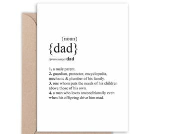 Dad Dictionary definition Card | Father's Day Card | Thanks Dad | Handmade