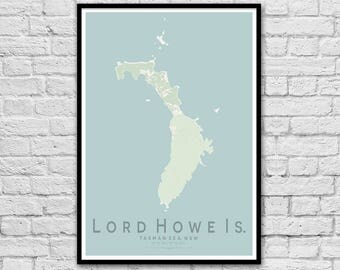 LORD HOWE ISLAND New South Wales City Street Map Print | Anniversary Gift | Travel Print | Wall Art Poster | Wall decor | A3 A2 | Valentines