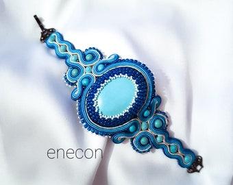 Soutache bracelet Blue bracelet Cuff bracelet