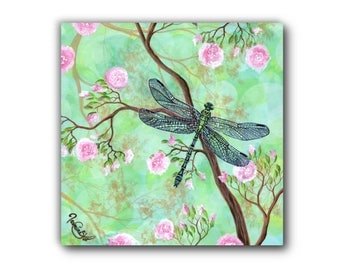 Small Giclée - Canvas Print - Acrylic Painting - Dragonfly - Cherry Blossom Tree - Contemporary Art - by Jasmine Star