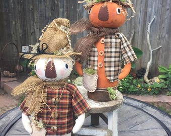 Primitive Canned Pumpkin Men Dolls