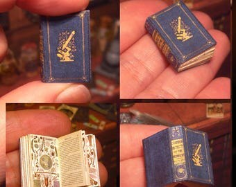 Miniature illustrated book .1861 . Victorian book .  Common objects of the microscope. OPENABLE .tutorial . DOWNLOAD - Scale 1:12