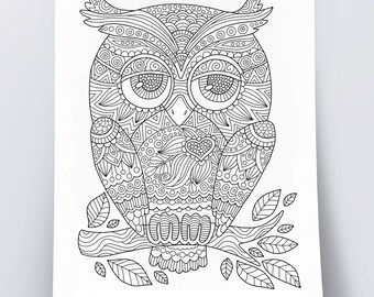 Adult Coloring Page Cute Owl Doodle Art DIY Poster Printable Pdf