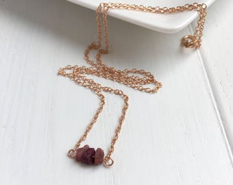 Raw Ruby Necklace, Raw Ruby Jewelry, Rose Gold Filled Necklace, Natural Ruby Necklace, July Birthstone Gift, Gift For Her, Dainty Necklace