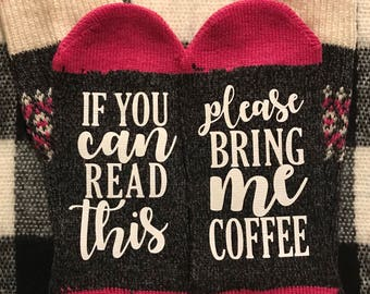 If You Can Read This Bring Me Coffee, Coffee Socks, Valentine's Day Gift For Her, Coffee Lover Socks, Birthday Gift for Her