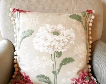 laura ashley cushion cover floral cushion cover decorative pillow pom pom trim