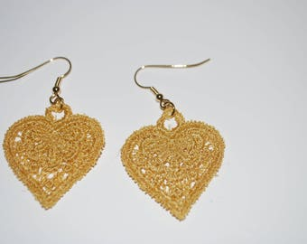 Embroidered heart shaped earrings