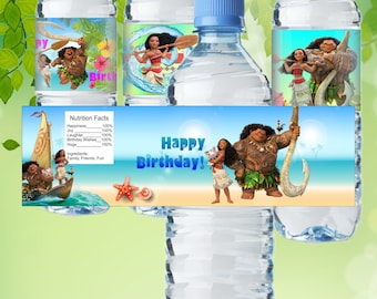 Moana Inspired Water Bottle Label Moana Bottle Label Moana Water Bottle Label Moana Birthday Party Moana Party Supplies Moana Label Moana