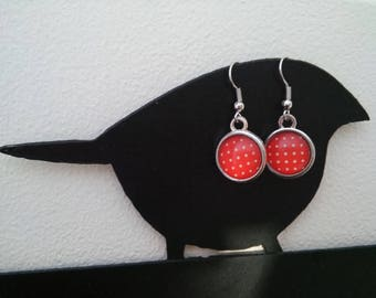 Dangle earrings silver metal cabochons graphic red with white dots