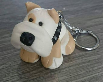 Bulldog dog polymer clay keychain