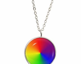 Rainbow Wheel Pendant and Silver Plated Necklace