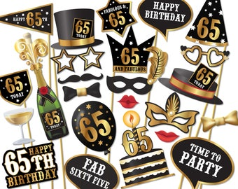 65th birthday Photo Booth props - Instant Download printable PDF. Sixty fifth birthday party Photo Booth supplies. 65 Today - 0179