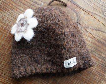 Wool Baby Hat, Hand Knit Baby Hat, Lamb's Wool Baby Hat, Hand Spun Yarn, Organic Wool