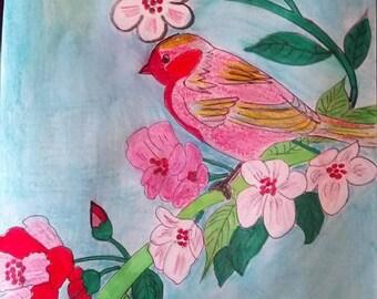 birds on flowering branch design