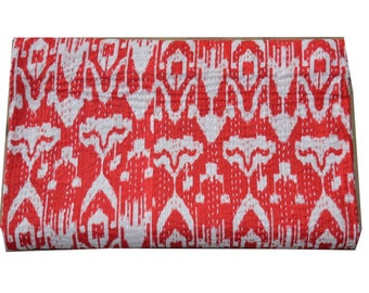 Red Ikat Cotton Printed Queen Kantha Quilt Hand Stitch Kantha Bedspread ,Handmade Stitch Kantha Quilt