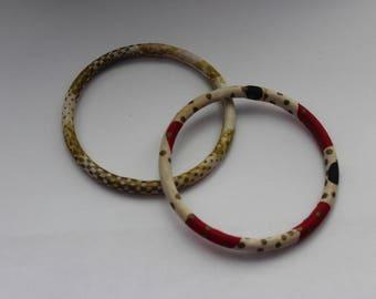African Wax Fabric Thin Bangle Bracelets