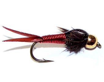 Red Copper John Nymph Fly - Trout and Panfish Fly Fishing Flies - Hook Size 16 - Hand Tied Trout Flies