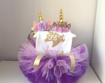 Unicorn birthday outfit, Purple and Pink birthday outfit, Unicorn headband tutu and bodysuit