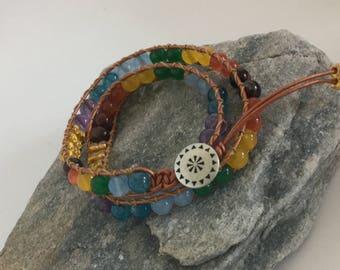 7chakras leather wrap bracelet 7chakras bracelet beaded bracelet jade citrine apatite amethyst red tiger eye gemstone aztec choker necklace