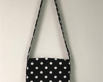 Black & white polka-dot crossbody bag, black purse, large shoulder bag, messenger bag, large purse, black shoulder bag, handmade bag.